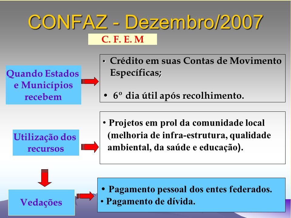CONFAZ - Dezembro/2007 Crédito em suas Contas de Movimento ; Específicas; 6º dia útil após recolhimento.