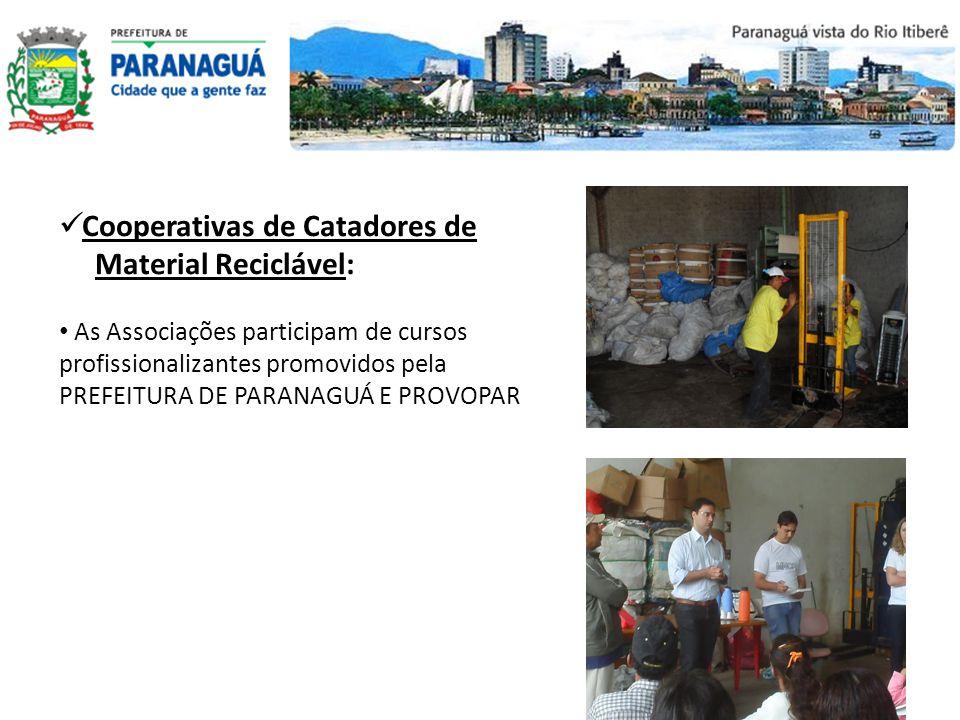 Cooperativas de Catadores de Material Reciclável: As Associações participam de cursos profissionalizantes promovidos pela PREFEITURA DE PARANAGUÁ E PR