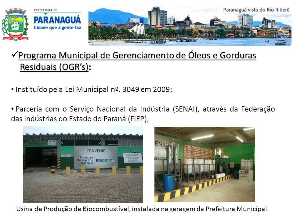Programa Municipal de Gerenciamento de Óleos e Gorduras Residuais (OGRs): Residuais (OGRs): Instituído pela Lei Municipal nº. 3049 em 2009; Parceria c
