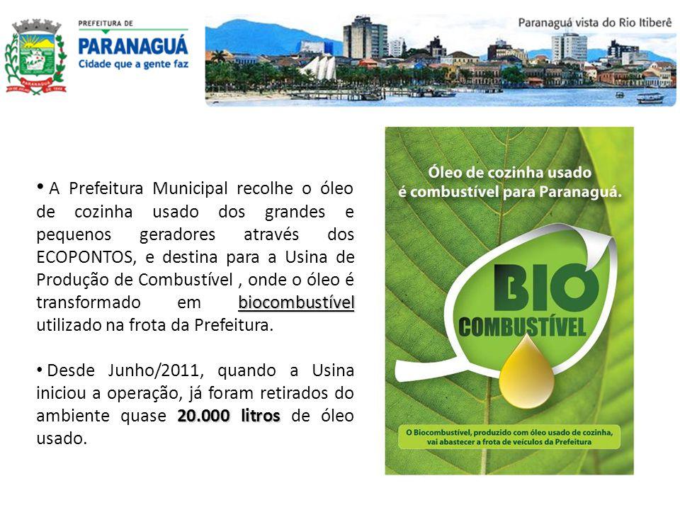 biocombustível A Prefeitura Municipal recolhe o óleo de cozinha usado dos grandes e pequenos geradores através dos ECOPONTOS, e destina para a Usina d