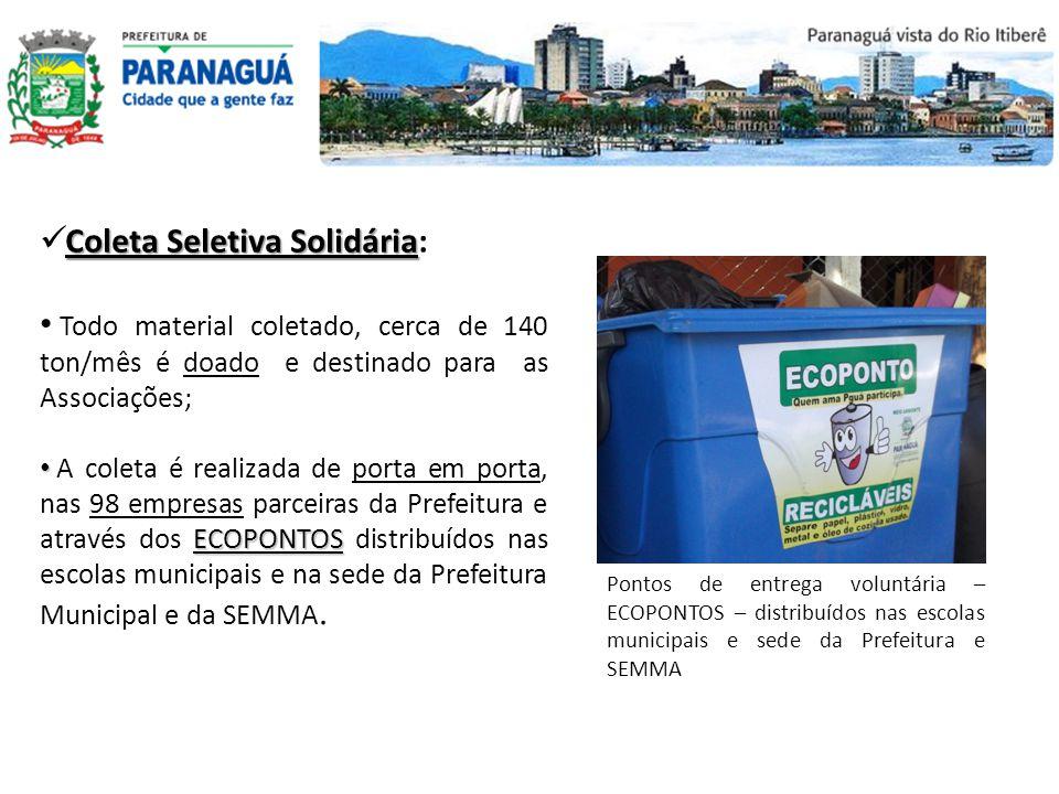 Pontos de entrega voluntária – ECOPONTOS – distribuídos nas escolas municipais e sede da Prefeitura e SEMMA Todo material coletado, cerca de 140 ton/m