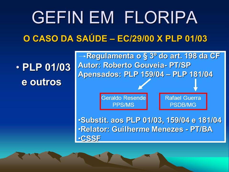 GEFIN EM FLORIPA O CASO DA SAÚDE – EC/29/00 X PLP 01/03 PLP 01/03 PLP 01/03 e outros e outros Regulamenta o § 3º do art. 198 da CF Regulamenta o § 3º