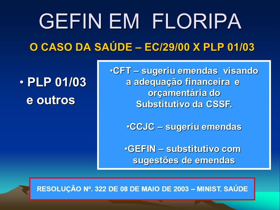 GEFIN EM FLORIPA O CASO DA SAÚDE – EC/29/00 X PLP 01/03 PLP 01/03 PLP 01/03 e outros e outros CFT – sugeriu emendas visandoCFT – sugeriu emendas visando a adequação financeira e orçamentária do Substitutivo da CSSF.