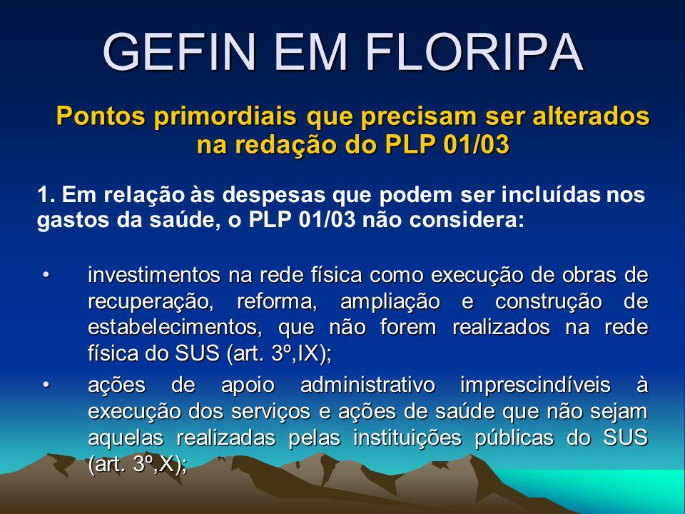 GEFIN EM FLORIPA investimentos na rede física como execução de obras de recuperação, reforma, ampliação e construção de estabelecimentos, que não forem realizados na rede física do SUS (art.