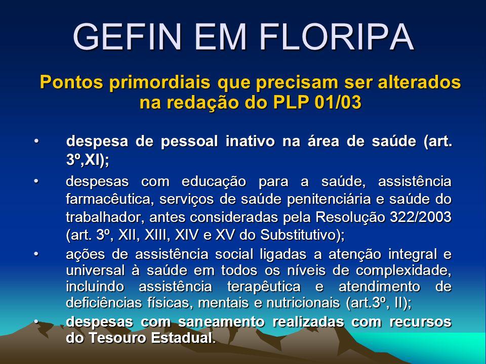 GEFIN EM FLORIPA despesa de pessoal inativo na área de saúde (art. 3º,XI);despesa de pessoal inativo na área de saúde (art. 3º,XI); despesas com educa