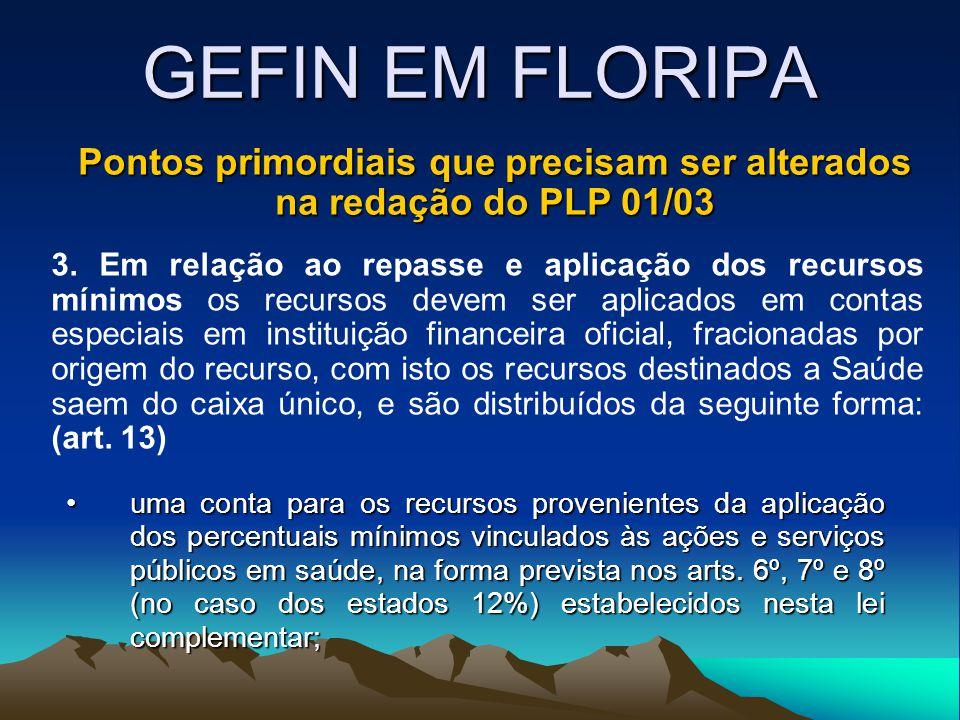 GEFIN EM FLORIPA Pontos primordiais que precisam ser alterados na redação do PLP 01/03 3. Em relação ao repasse e aplicação dos recursos mínimos os re
