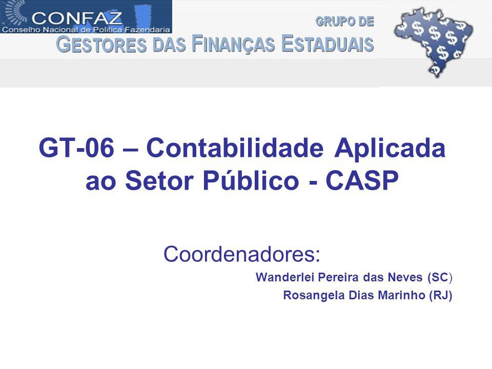 GT-06 – Contabilidade Aplicada ao Setor Público - CASP Coordenadores: Wanderlei Pereira das Neves (SC) Rosangela Dias Marinho (RJ)