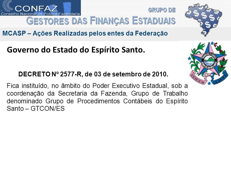 Governo do Estado do Espírito Santo. DECRETO Nº 2577-R, de 03 de setembro de 2010. Fica instituído, no âmbito do Poder Executivo Estadual, sob a coord