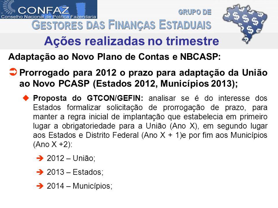 Ações realizadas no trimestre Adaptação ao Novo Plano de Contas e NBCASP: Prorrogado para 2012 o prazo para adaptação da União ao Novo PCASP (Estados
