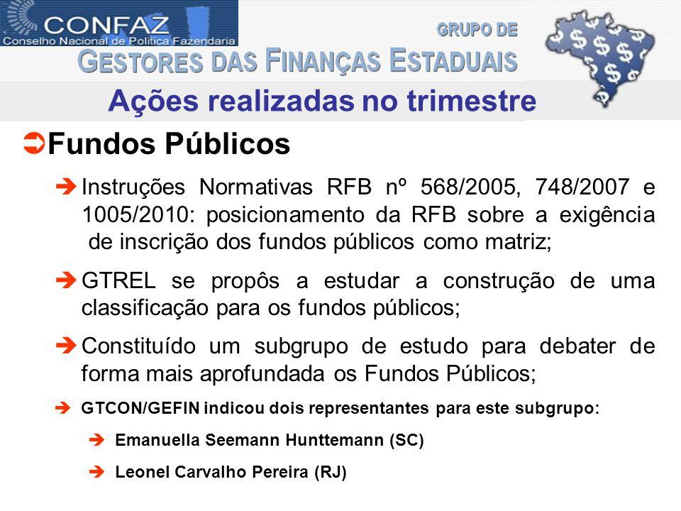 Ações realizadas no trimestre Fundos Públicos Instruções Normativas RFB nº 568/2005, 748/2007 e 1005/2010: posicionamento da RFB sobre a exigência de