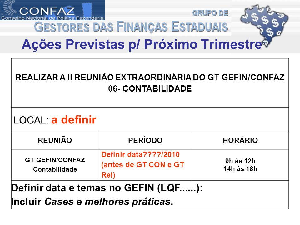 Ações Previstas p/ Próximo Trimestre REALIZAR A II REUNIÃO EXTRAORDINÁRIA DO GT GEFIN/CONFAZ 06- CONTABILIDADE LOCAL: a definir REUNIÃOPERÍODOHORÁRIO