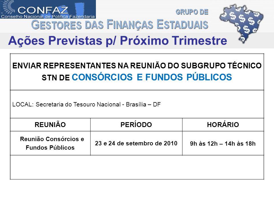 ENVIAR REPRESENTANTES NA REUNIÃO DO SUBGRUPO TÉCNICO STN DE CONSÓRCIOS E FUNDOS PÚBLICOS LOCAL: Secretaria do Tesouro Nacional - Brasília – DF REUNIÃO