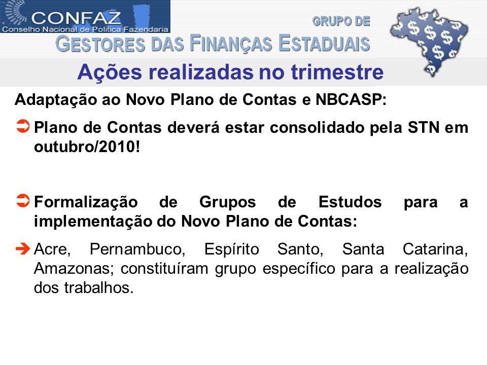 Ações realizadas no trimestre Adaptação ao Novo Plano de Contas e NBCASP: Plano de Contas deverá estar consolidado pela STN em outubro/2010! Formaliza