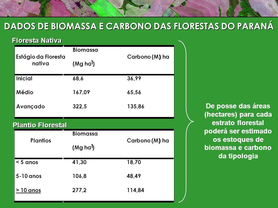 Estágio da Floresta nativa Carbono (M) ha ) Inicial 36,99 Médio 65,56 Avançado 135,86 Biomassa (Mg ha -1 ) 68,6 167,09 322,5 Floresta Nativa Plantio Florestal Plantios Carbono (M) ha ) < 5 anos 18,70 5-10 anos 48,49 > 10 anos 114,84 Biomassa (Mg ha -1 ) 41,30 106,8 277,2 De posse das áreas (hectares) para cada estrato florestal poderá ser estimado os estoques de biomassa e carbono da tipologia DADOS DE BIOMASSA E CARBONO DAS FLORESTAS DO PARANÁ