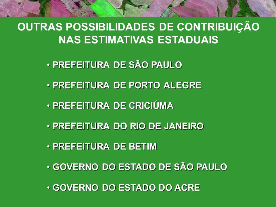 OUTRAS POSSIBILIDADES DE CONTRIBUIÇÃO NAS ESTIMATIVAS ESTADUAIS PREFEITURA DE SÃO PAULO PREFEITURA DE SÃO PAULO PREFEITURA DE PORTO ALEGRE PREFEITURA DE PORTO ALEGRE PREFEITURA DE CRICIÚMA PREFEITURA DE CRICIÚMA PREFEITURA DO RIO DE JANEIRO PREFEITURA DO RIO DE JANEIRO PREFEITURA DE BETIM PREFEITURA DE BETIM GOVERNO DO ESTADO DE SÃO PAULO GOVERNO DO ESTADO DE SÃO PAULO GOVERNO DO ESTADO DO ACRE GOVERNO DO ESTADO DO ACRE