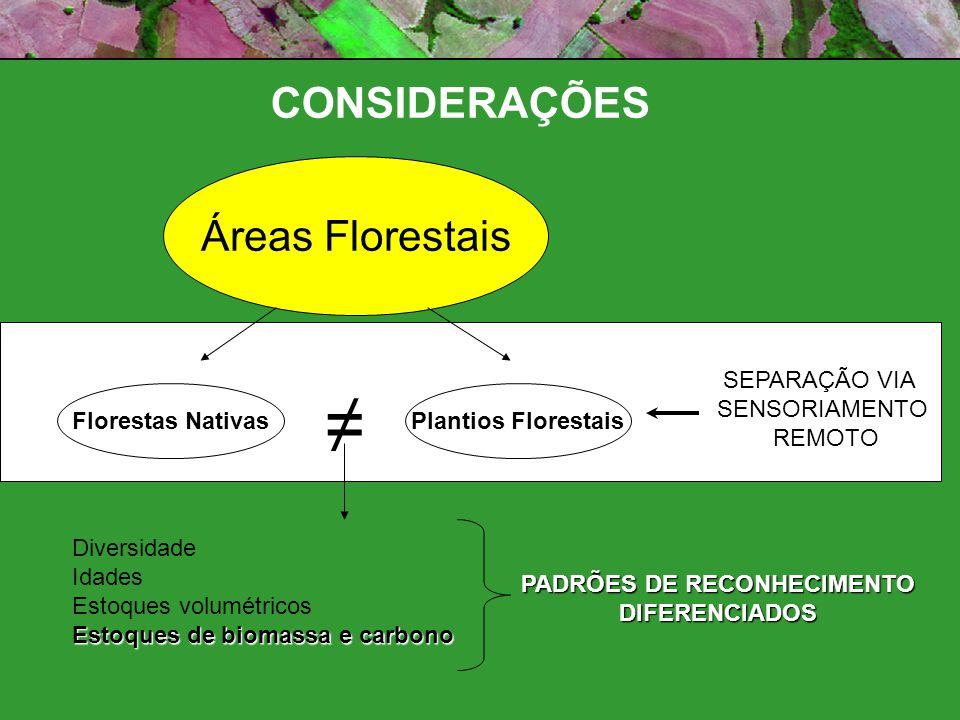 Áreas Florestais Florestas NativasPlantios Florestais SEPARAÇÃO VIA SENSORIAMENTO REMOTO Diversidade Idades Estoques volumétricos Estoques de biomassa e carbono PADRÕES DE RECONHECIMENTO DIFERENCIADOS CONSIDERAÇÕES