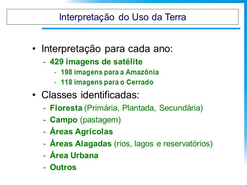 Interpretação para cada ano: -429 imagens de satélite -198 imagens para a Amazônia -118 imagens para o Cerrado Classes identificadas: -Floresta (Primá