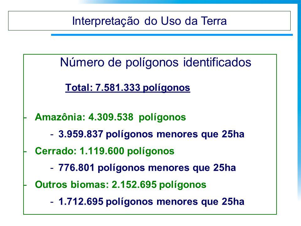 Número de polígonos identificados Total: 7.581.333 polígonos -Amazônia: 4.309.538 polígonos -3.959.837 polígonos menores que 25ha -Cerrado: 1.119.600