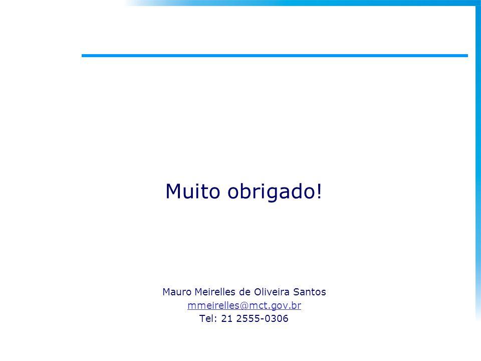 Muito obrigado! Mauro Meirelles de Oliveira Santos mmeirelles@mct.gov.br Tel: 21 2555-0306