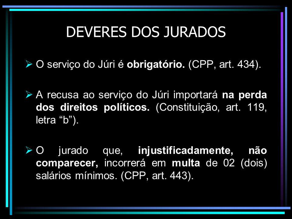 DEVERES DOS JURADOS O serviço do Júri é obrigatório.
