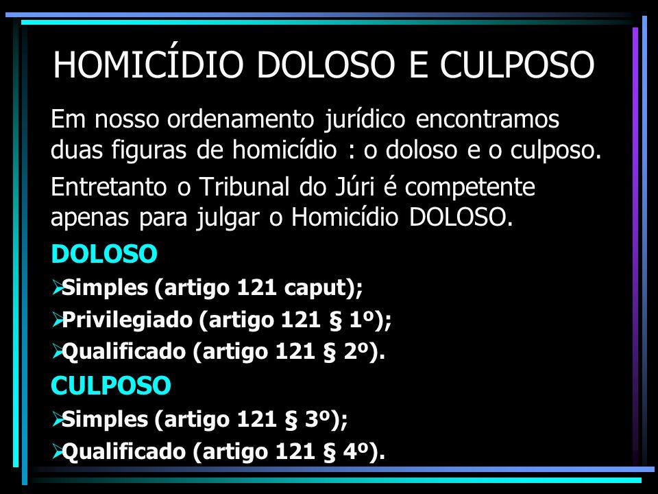 HOMICÍDIO DOLOSO E CULPOSO Em nosso ordenamento jurídico encontramos duas figuras de homicídio : o doloso e o culposo.