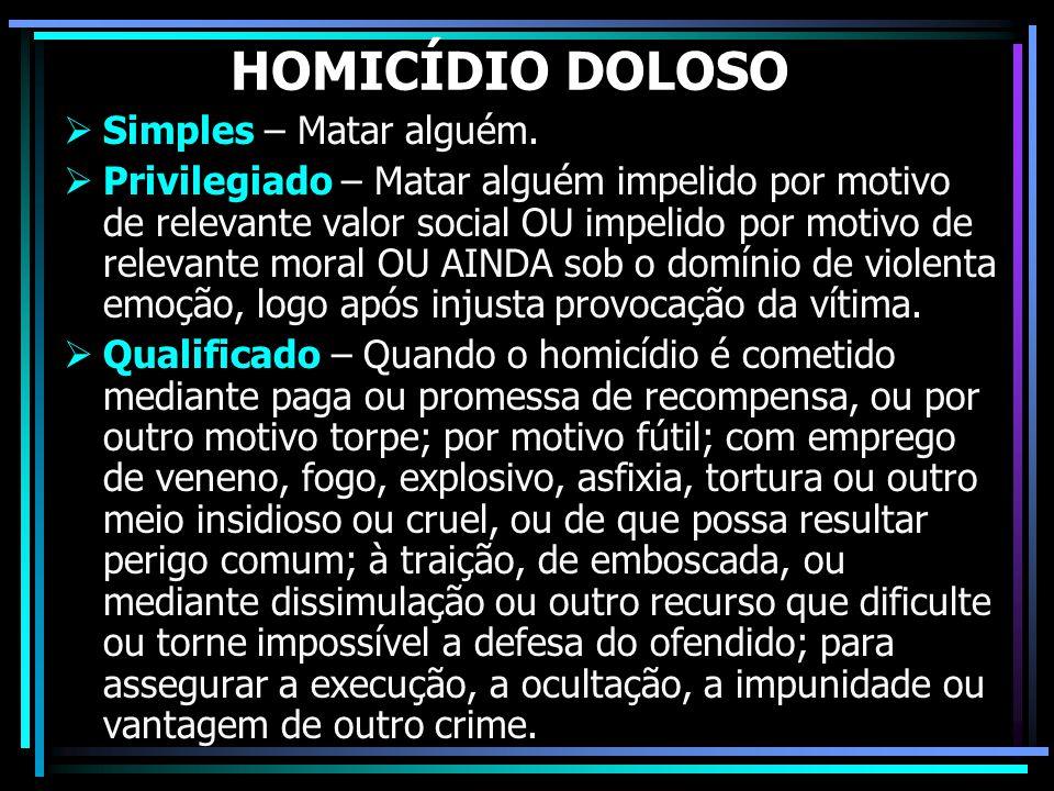 HOMICÍDIO DOLOSO Simples – Matar alguém.