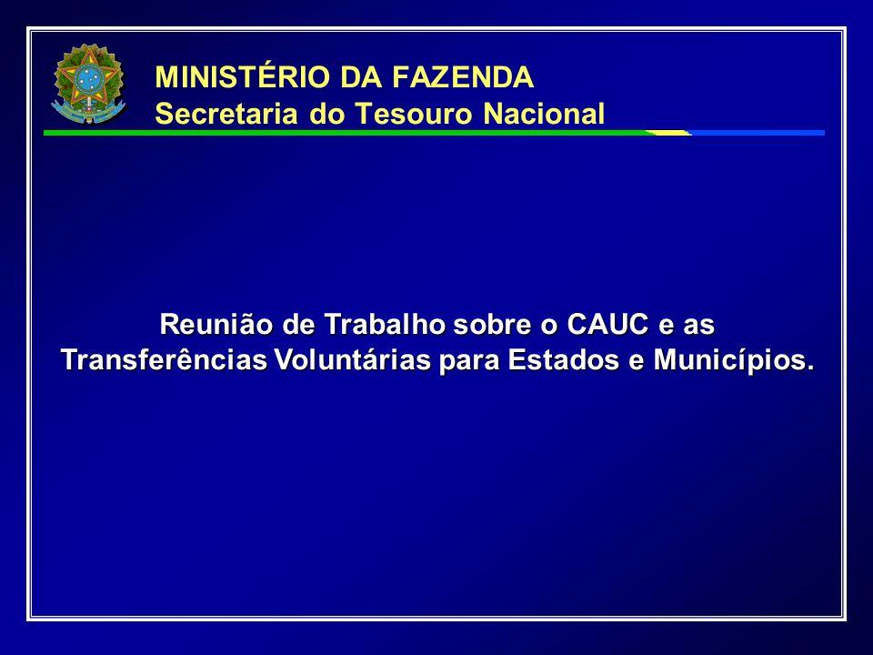 MINISTÉRIO DA FAZENDA Secretaria do Tesouro Nacional Reunião de Trabalho sobre o CAUC e as Transferências Voluntárias para Estados e Municípios.