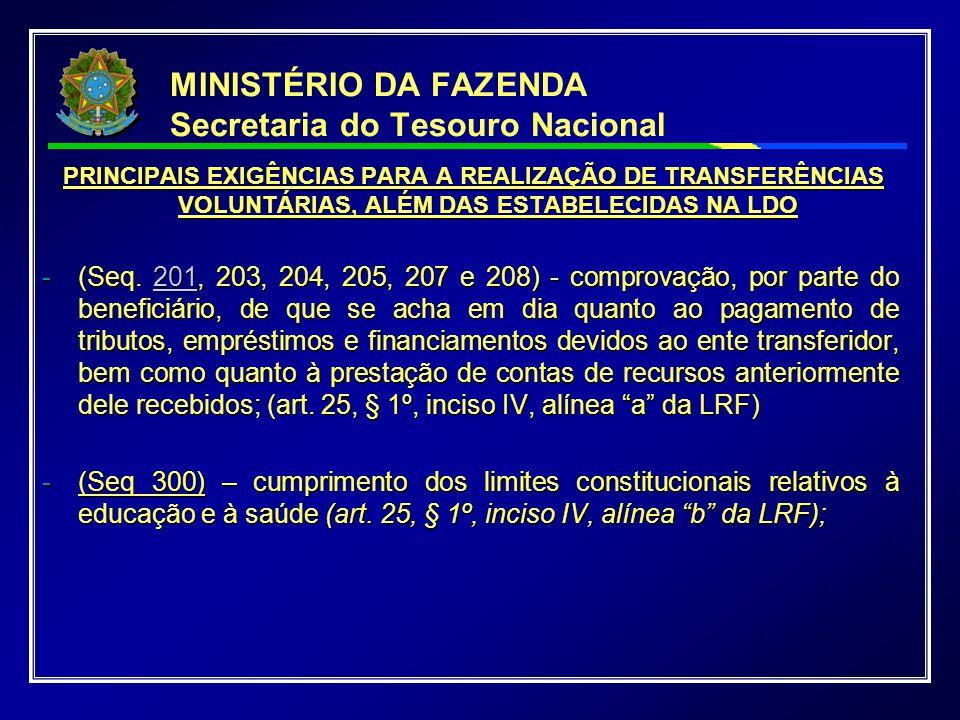 MINISTÉRIO DA FAZENDA Secretaria do Tesouro Nacional PRINCIPAIS EXIGÊNCIAS PARA A REALIZAÇÃO DE TRANSFERÊNCIAS VOLUNTÁRIAS, ALÉM DAS ESTABELECIDAS NA LDO PRINCIPAIS EXIGÊNCIAS PARA A REALIZAÇÃO DE TRANSFERÊNCIAS VOLUNTÁRIAS, ALÉM DAS ESTABELECIDAS NA LDO -(Seq.