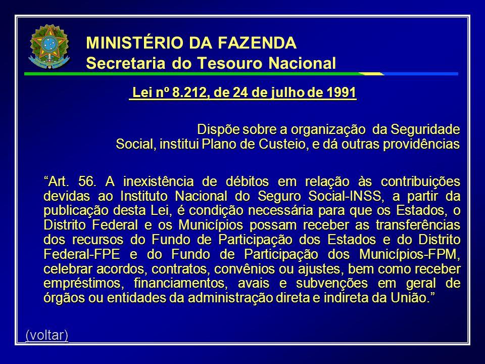 MINISTÉRIO DA FAZENDA Secretaria do Tesouro Nacional Lei nº 8.212, de 24 de julho de 1991 Lei nº 8.212, de 24 de julho de 1991 Dispõe sobre a organiza