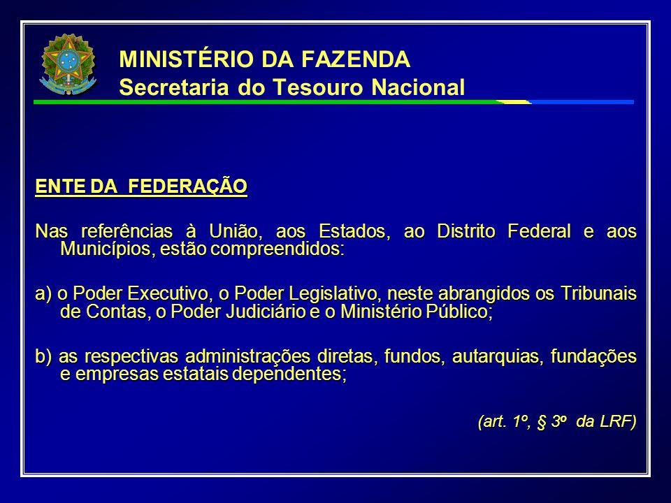 MINISTÉRIO DA FAZENDA Secretaria do Tesouro Nacional ENTE DA FEDERAÇÃO Nas referências à União, aos Estados, ao Distrito Federal e aos Municípios, est