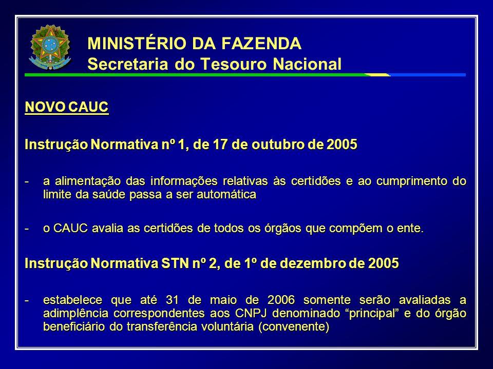 MINISTÉRIO DA FAZENDA Secretaria do Tesouro Nacional NOVO CAUC Instrução Normativa nº 1, de 17 de outubro de 2005 - a alimentação das informações rela