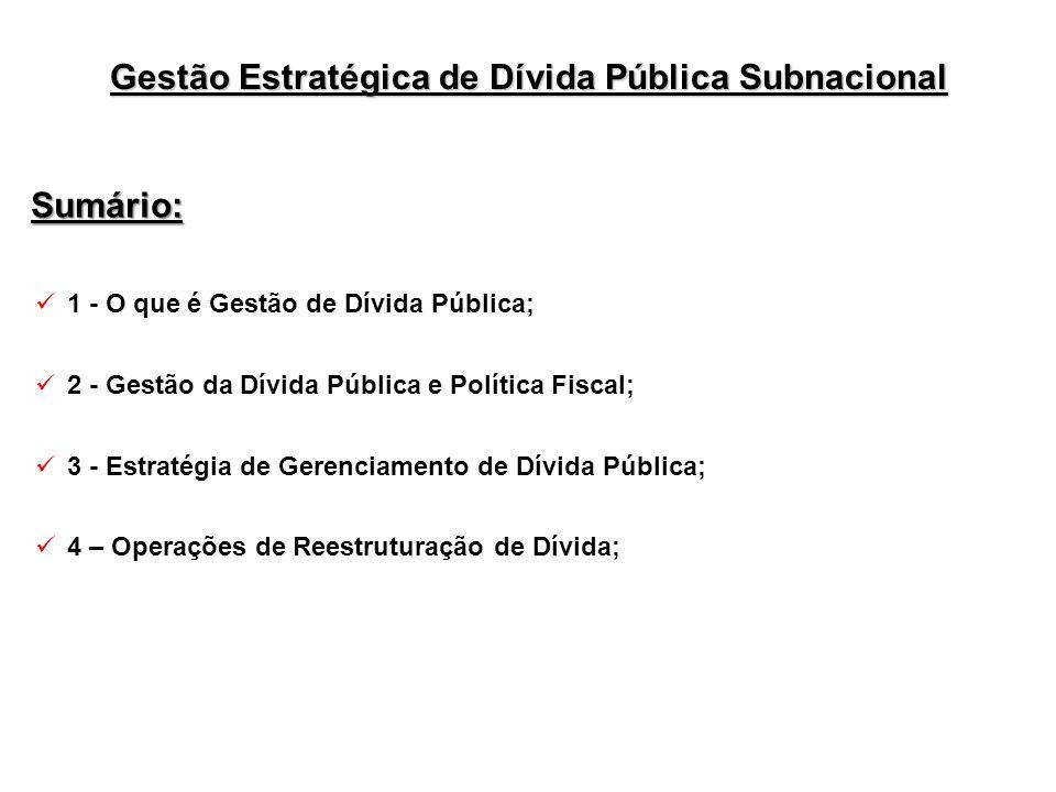 Sumário: 1 - O que é Gestão de Dívida Pública; 2 - Gestão da Dívida Pública e Política Fiscal; 3 - Estratégia de Gerenciamento de Dívida Pública; 4 –