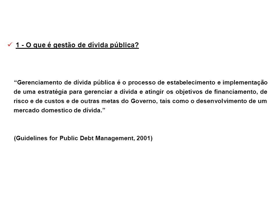 1 - O que é gestão de dívida pública? Gerenciamento de dívida pública é o processo de estabelecimento e implementação de uma estratégia para gerenciar