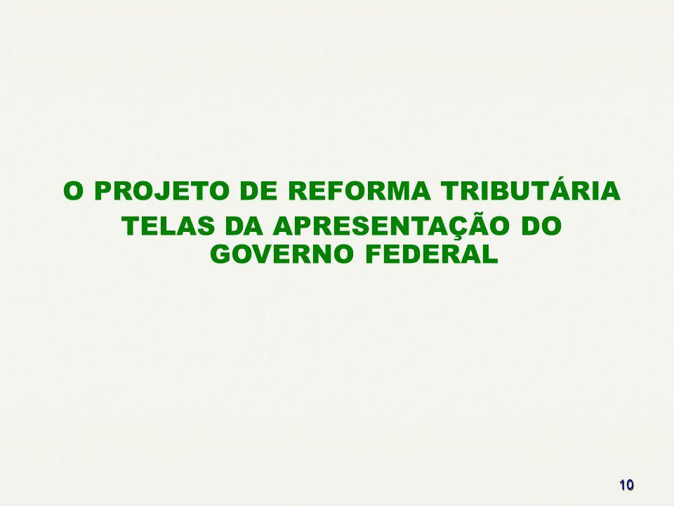 10 O PROJETO DE REFORMA TRIBUTÁRIA TELAS DA APRESENTAÇÃO DO GOVERNO FEDERAL