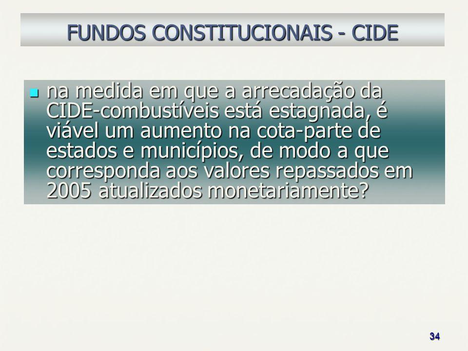34 FUNDOS CONSTITUCIONAIS - CIDE na medida em que a arrecadação da CIDE-combustíveis está estagnada, é viável um aumento na cota-parte de estados e mu