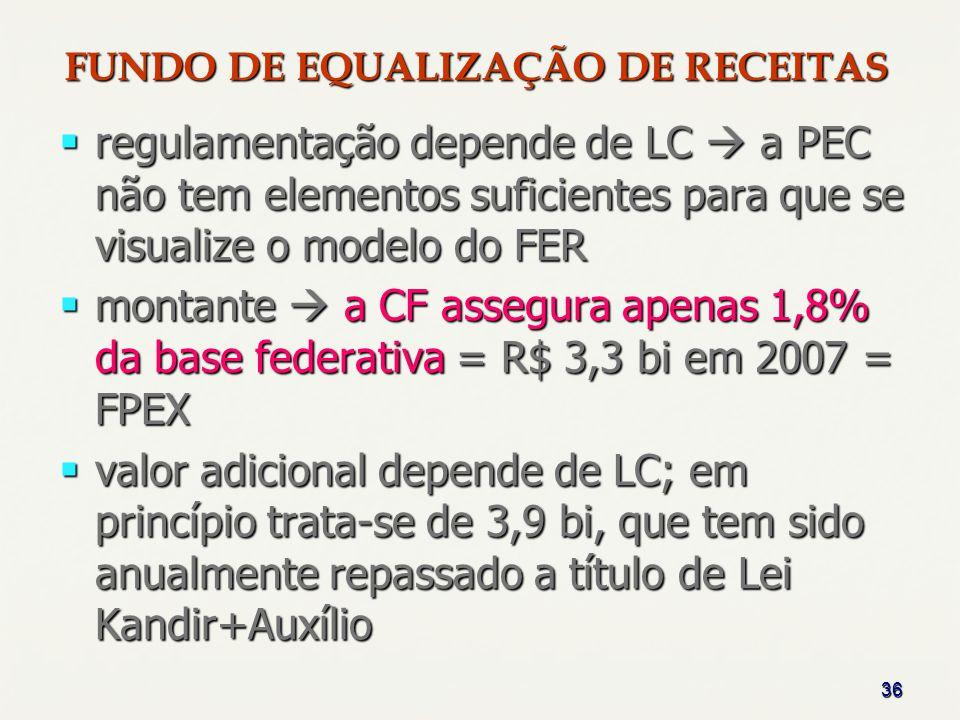36 FUNDO DE EQUALIZAÇÃO DE RECEITAS regulamentação depende de LC a PEC não tem elementos suficientes para que se visualize o modelo do FER regulamenta