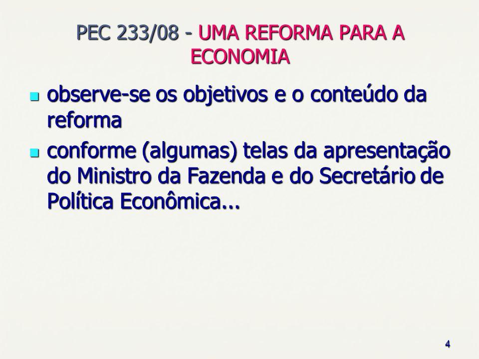 4 PEC 233/08 - UMA REFORMA PARA A ECONOMIA observe-se os objetivos e o conteúdo da reforma observe-se os objetivos e o conteúdo da reforma conforme (a