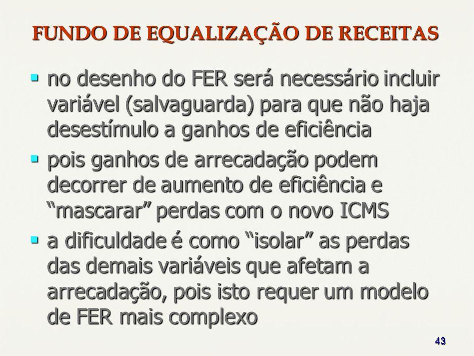 43 no desenho do FER será necessário incluir variável (salvaguarda) para que não haja desestímulo a ganhos de eficiência no desenho do FER será necess