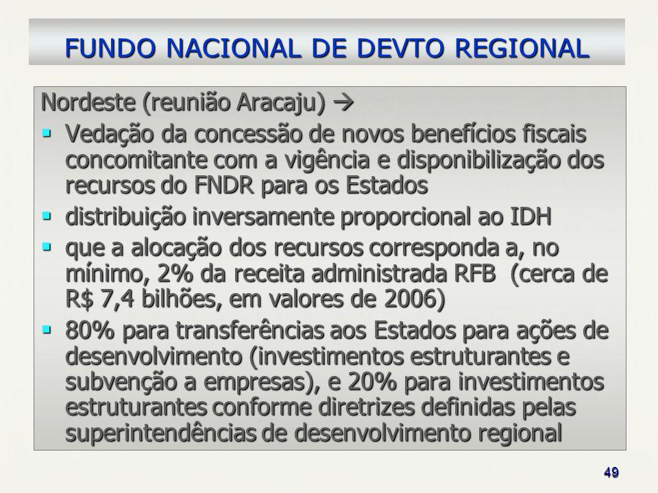 49 Nordeste (reunião Aracaju) Nordeste (reunião Aracaju) Vedação da concessão de novos benefícios fiscais concomitante com a vigência e disponibilizaç