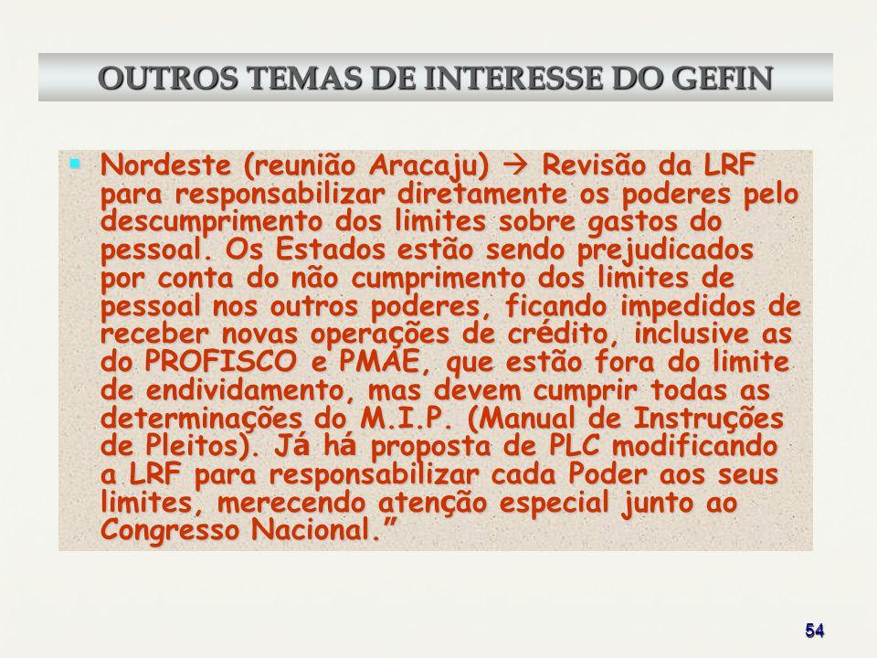 54 Nordeste (reunião Aracaju) Revisão da LRF para responsabilizar diretamente os poderes pelo descumprimento dos limites sobre gastos do pessoal. Os E