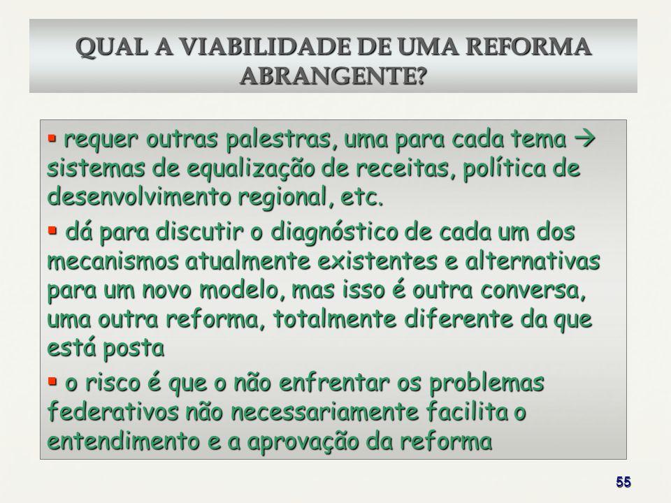 55 QUAL A VIABILIDADE DE UMA REFORMA ABRANGENTE? requer outras palestras, uma para cada tema sistemas de equalização de receitas, política de desenvol
