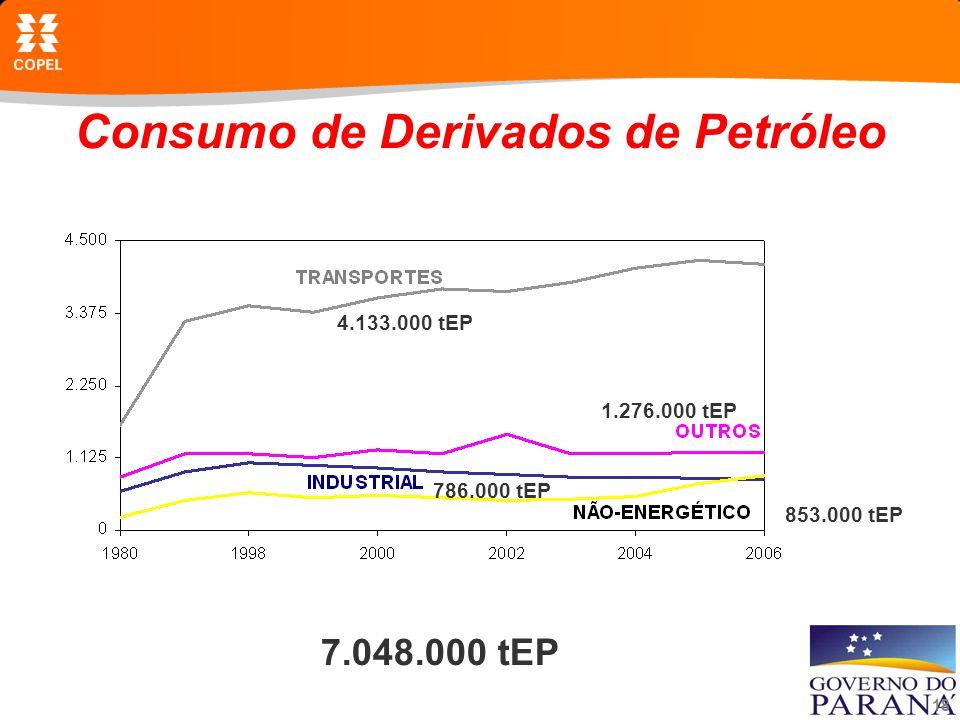 18 Consumo de Derivados de Petróleo 7.048.000 tEP 4.133.000 tEP 1.276.000 tEP 786.000 tEP 853.000 tEP