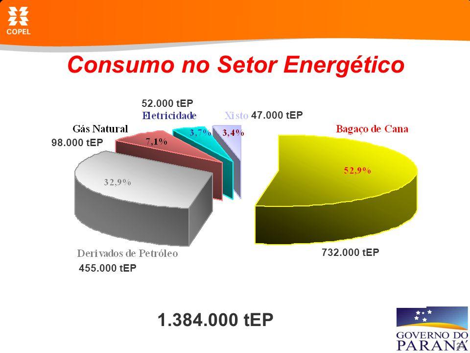 21 Consumo no Setor Energético 1.384.000 tEP 732.000 tEP 455.000 tEP 98.000 tEP 52.000 tEP 47.000 tEP