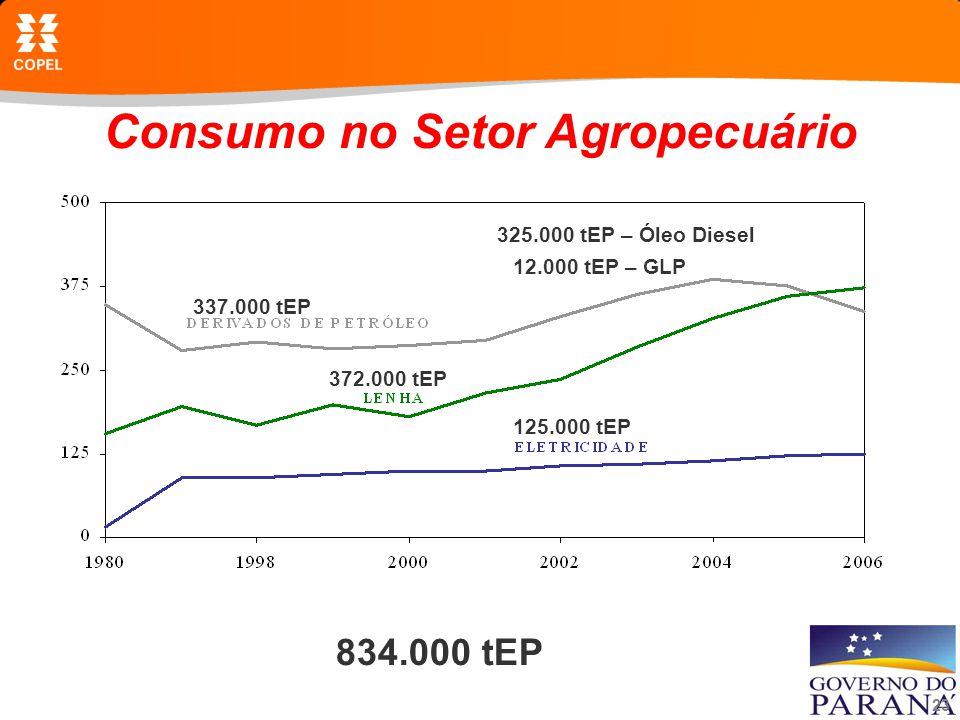 23 Consumo no Setor Agropecuário 834.000 tEP 325.000 tEP – Óleo Diesel 12.000 tEP – GLP 372.000 tEP 337.000 tEP 125.000 tEP