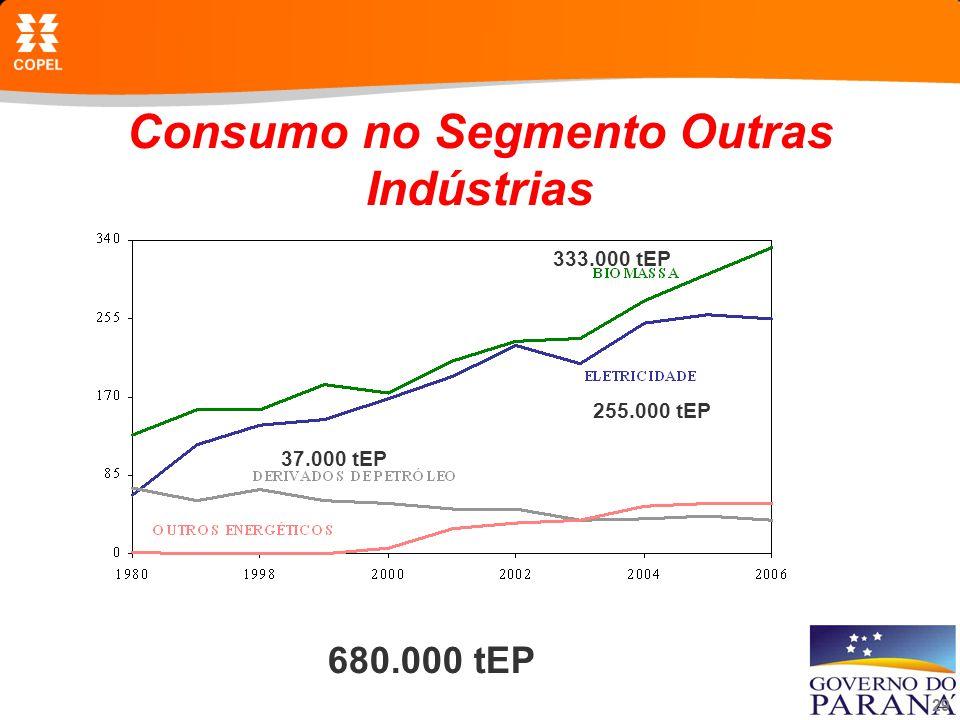 29 Consumo no Segmento Outras Indústrias 680.000 tEP 333.000 tEP 255.000 tEP 37.000 tEP