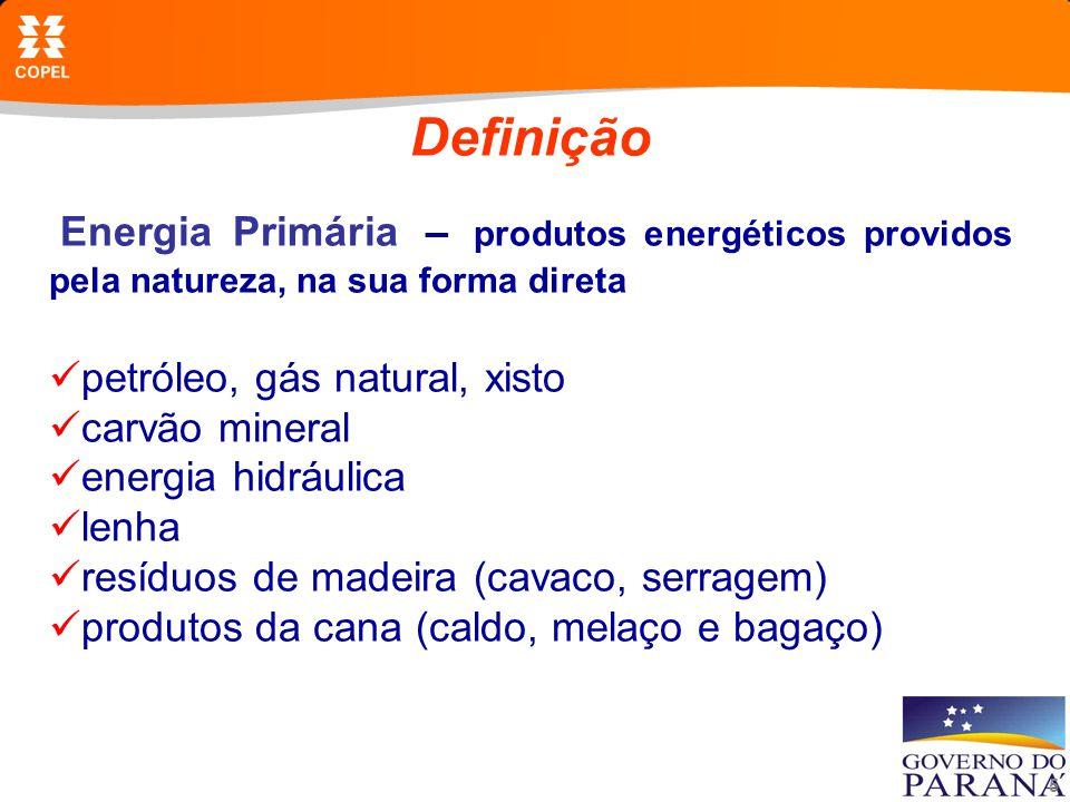 5 Definição Energia Primária – produtos energéticos providos pela natureza, na sua forma direta petróleo, gás natural, xisto carvão mineral energia hidráulica lenha resíduos de madeira (cavaco, serragem) produtos da cana (caldo, melaço e bagaço)