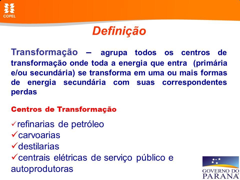 6 Definição Transformação – agrupa todos os centros de transformação onde toda a energia que entra (primária e/ou secundária) se transforma em uma ou mais formas de energia secundária com suas correspondentes perdas DE TRANSFORMAÇÃO Centros de Transformação refinarias de petróleo carvoarias destilarias centrais elétricas de serviço público e autoprodutoras