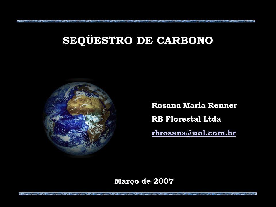 Rosana Maria Renner RB Florestal Ltda rbrosana@uol.com.br SEQÜESTRO DE CARBONO Março de 2007