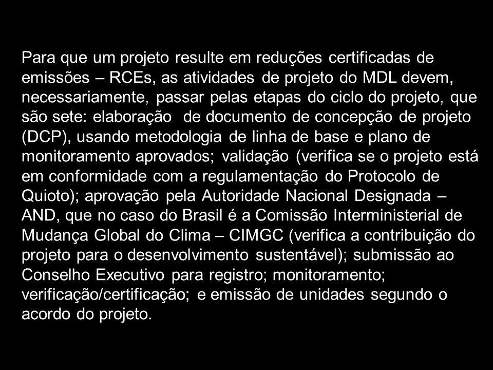Para que um projeto resulte em reduções certificadas de emissões – RCEs, as atividades de projeto do MDL devem, necessariamente, passar pelas etapas d