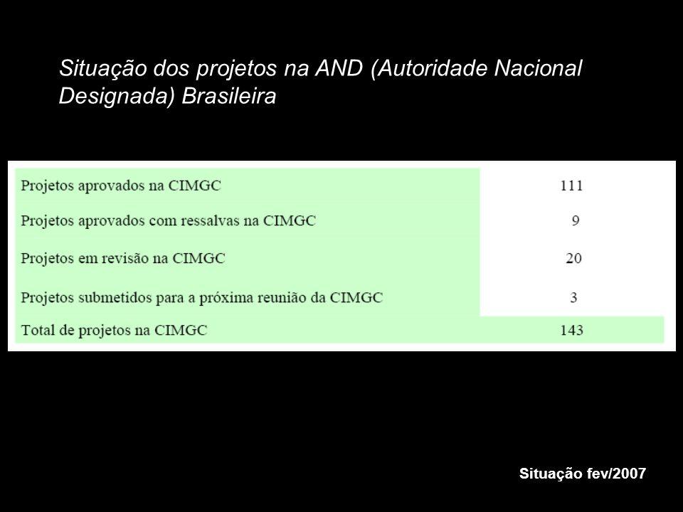 Situação dos projetos na AND (Autoridade Nacional Designada) Brasileira Situação fev/2007